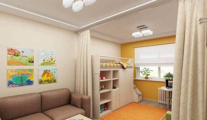 Дизайнерское оформление однокомнатной квартиры с детской зоной